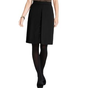 Ann Taylor Wool Tricotine Button Front Skirt black